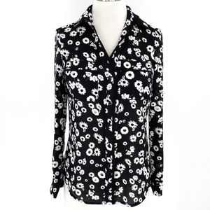Candies Floral Long Sleeve Button Down Top Pockets